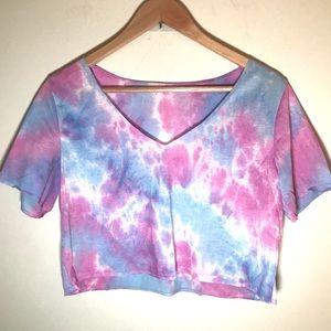 VNeck Tie Dye Cropped Short Medium T-shirt